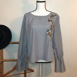 Sweet Rain Striped Bell Sleeve Top